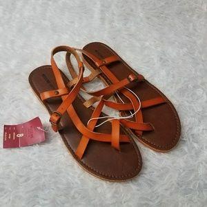 Mossimo orange leather sandals size 8